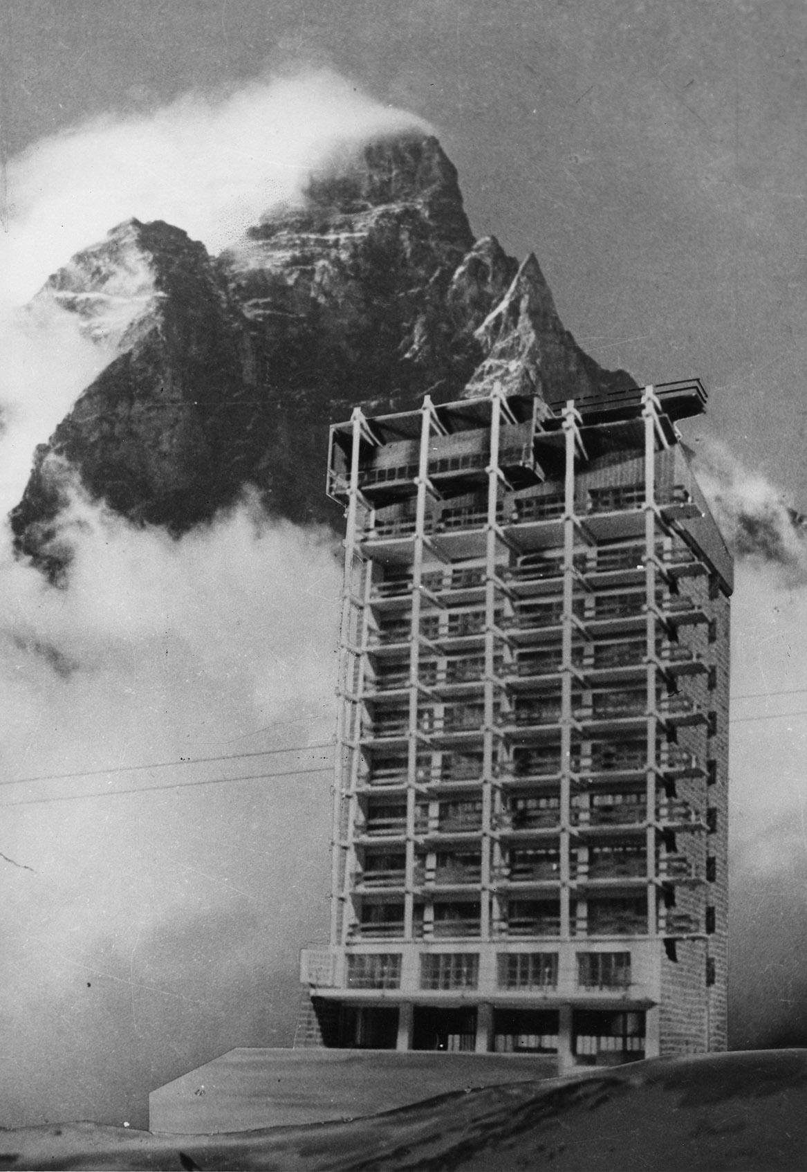 Carlo Mollino e Riccardo Moncalvo - Casa del Sole, Cervinia, fotomontaggio, 1955 circa. Courtesy ofPolitecnico di Torino, sezione Archivi biblioteca